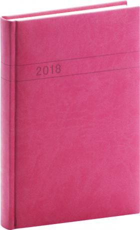 Denní diář Vivella 2018, magenta, 11 x 17 cm, B6