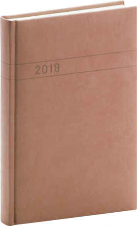 Denní diář Vivella 2018, středně hnědý, 11 x 17 cm, B6