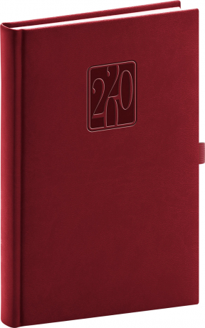 Denní diář Vivella Classic 2020, vínový, 15 × 21 cm