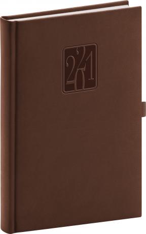 Denní diář Vivella Classic 2021, hnědý, 15 × 21 cm