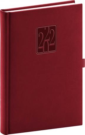 Denní diář Vivella Classic 2022, vínový, 15 × 21 cm