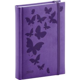 Denní diář Vivella Speciál 2019, fialový, 15 x 21 cm