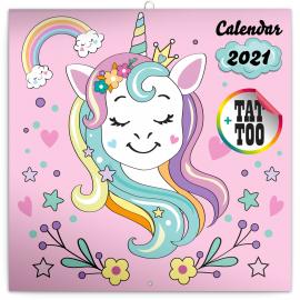Grid calendar Happy Unicorns 2021, 30 × 30 cm