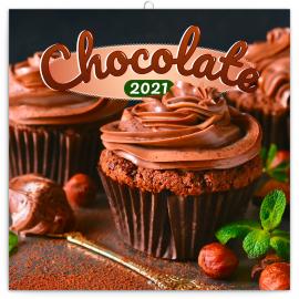 Poznámkový kalendář Čokoláda 2021, voňavý, 30 × 30 cm