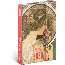 Týdenní magnetický diář Alfons Mucha 2020, 11 × 16 cm
