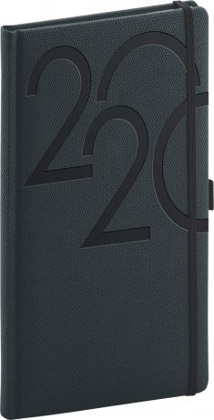 Kapesní diář Ajax 2020, antracitový, 9 × 15,5 cm
