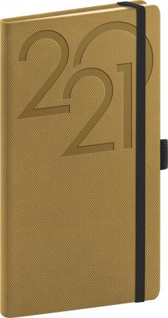 Kapesní diář Ajax 2021, zlatý, 9 × 15,5 cm