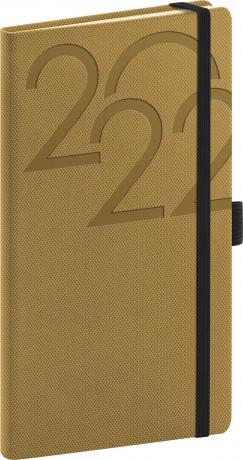 Kapesní diář Ajax 2022, zlatý, 9 × 15,5 cm