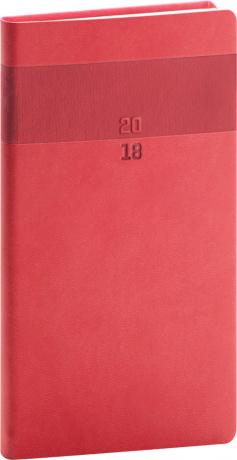Kapesní diář Aprint 2018, červený, 9 x 15,5 cm