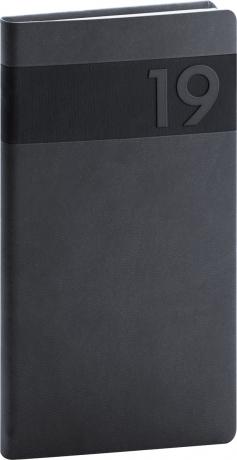 Kapesní diář Aprint 2019, černý, 9 x 15,5 cm