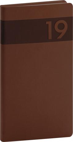 Kapesní diář Aprint 2019, hnědý, 9 x 15,5 cm