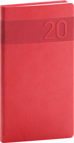 Pocket diary Aprint red 2020, 9 × 15,5 cm