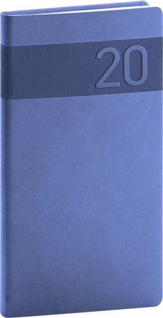 Kapesní diář Aprint 2020, modrý, 9 × 15,5 cm