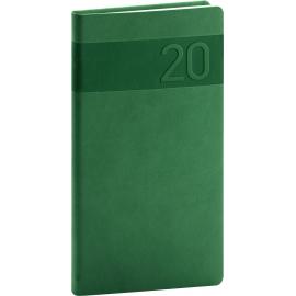 Kapesní diář Aprint 2020, zelený, 9 × 15,5 cm