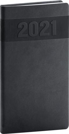 Kapesní diář Aprint 2021, černý, 9 × 15,5 cm