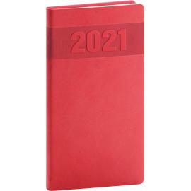 Kapesní diář Aprint 2021, červený, 9 × 15,5 cm