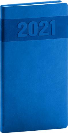 Kapesní diář Aprint 2021, modrý, 9 × 15,5 cm