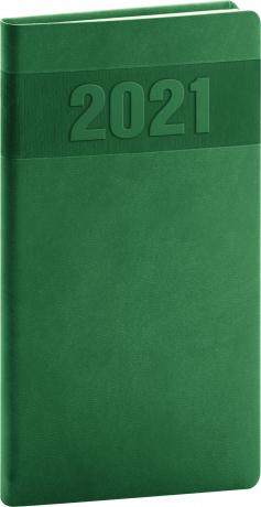 Kapesní diář Aprint 2021, zelený, 9 × 15,5 cm