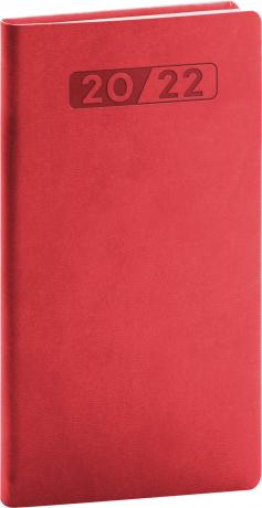 Kapesní diář Aprint 2022, červený, 9 × 15,5 cm