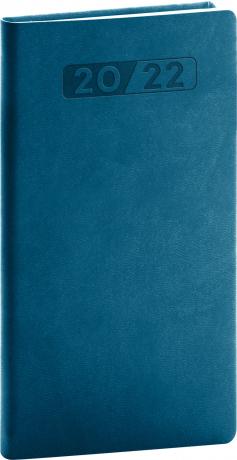 Kapesní diář Aprint 2022, petrolejově modrý, 9 × 15,5 cm