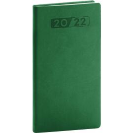 Kapesní diář Aprint 2022, zelený, 9 × 15,5 cm