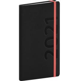 Kapesní diář Avilla 2021, černooranžový, 9 × 15,5 cm