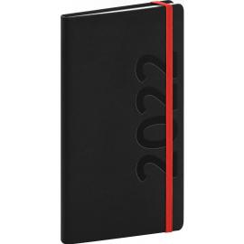 Kapesní diář Avilla 2022, černočervený, antibakteriální, 9 × 15,5 cm