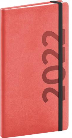 Kapesní diář Avilla 2022, oranžovočerný, antibakteriální, 9 × 15,5 cm