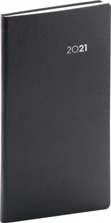 Kapesní diář Balacron 2021, černý, 9 × 15,5 cm
