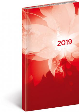 Kapesní diář Cambio 2019, červený, 9 x 15,5 cm