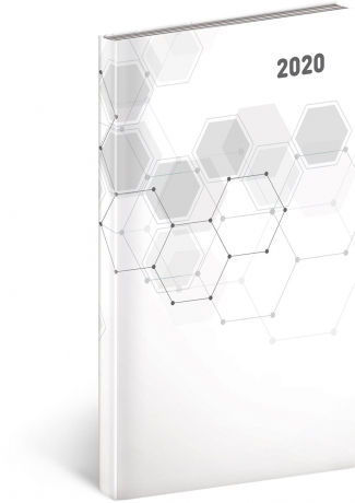 Kapesní diář Cambio Classic 2020, bílý, 9 × 15,5 cm