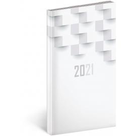 Kapesní diář Cambio Classic 2021, bílý, 9 × 15,5 cm