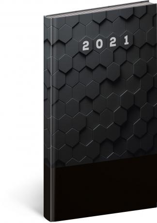 Kapesní diář Cambio Classic 2021, černý, 9 × 15,5 cm