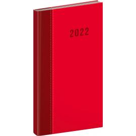 Kapesní diář Cambio Classic 2022, červený, 9 × 15,5 cm