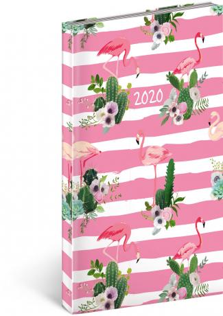 Kapesní diář Cambio Fun 2020, plameňáci 9 × 15,5 cm