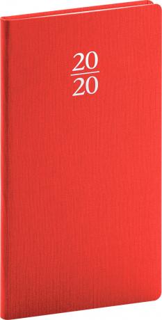 Kapesní diář Capys 2020, červený, 9 × 15,5 cm