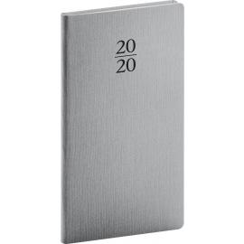Kapesní diář Capys 2020, stříbrný, 9 × 15,5 cm