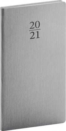 Kapesní diář Capys 2021, stříbrný, 9 × 15,5 cm