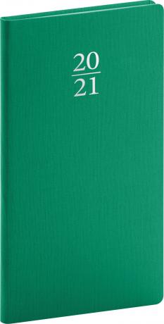 Kapesní diář Capys 2021, zelený, 9 × 15,5 cm