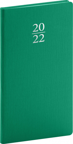 Kapesní diář Capys 2022, zelený, 9 × 15,5 cm