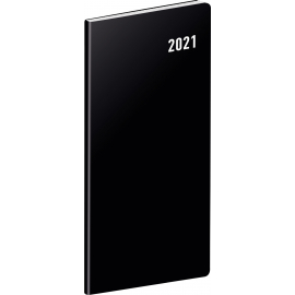 Pocket diary Black, planning monthly 2021, 8 × 18 cm