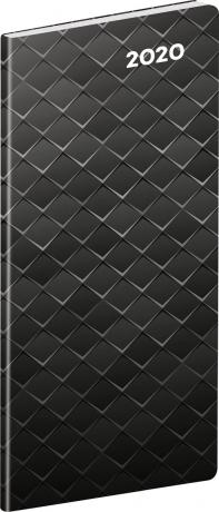 Kapesní diář Černý kov 2020, plánovací měsíční, 8 × 18 cm