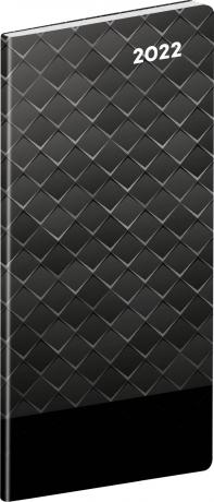 Kapesní diář Černý kov 2022, plánovací měsíční, 8 × 18 cm
