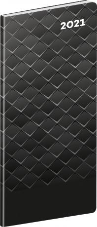 Kapesní diář Čierny kov SK 2021, plánovací měsíční, 8 × 18 cm