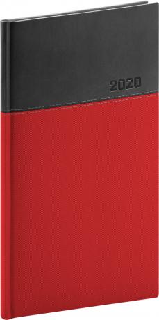 Kapesní diář Dado 2020, červenočerný, 9 × 15,5 cm