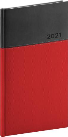 Kapesní diář Dado 2021, červenočerný, 9 × 15,5 cm