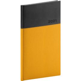Kapesní diář Dado 2021, žlutočerný, 9 × 15,5 cm