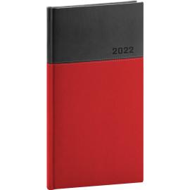 Kapesní diář Dado 2022, červenočerný, 9 × 15,5 cm