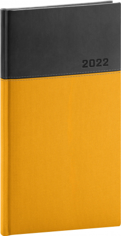 Kapesní diář Dado 2022, žlutočerný, 9 × 15,5 cm