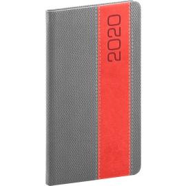 Kapesní diář Davos 2020, šedočervený, 9 × 15,5 cm